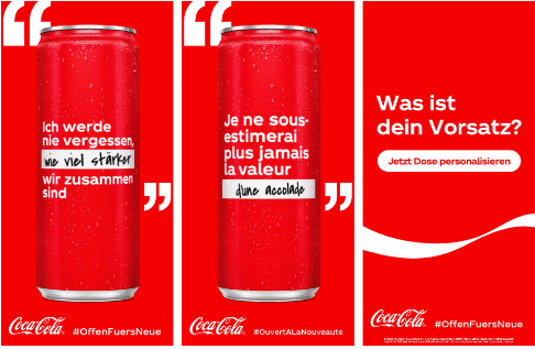 Coca-Cola limited edition with personalized messages for optimism #OpentoBetter